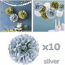 JZK 10 x Pom Pom Pompom Pompon, 25cm Durchmesser, Papier hängende Blume Dekoration Zubehör für Hochzeit Geburtstag Graduierung Taufe Party Weihnachten Halloween, Silber