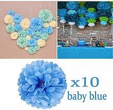 JZK 10 x Pompoms Pompons, 25cm Durchmesser, Seidenpapier blume Dekoration für Wohnzimmer Hochzeit Geburtstag Babyparty Kinder Party Weihnachten Silvester, Baby Blau