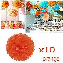 JZK 10 x Pompoms Pompons, 25cm Durchmesser, Seidenpapier blume Dekoration für Wohnzimmer Hochzeit Geburtstag Babyparty Kinder Party Weihnachten Silvester, Orange