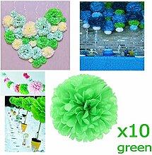 JZK 10 x Pompoms Pompons, 25cm Durchmesser, Seidenpapier blume Dekoration für Wohnzimmer Hochzeit Geburtstag Babyparty Kinder Party Weihnachten Silvester, grün