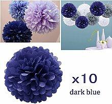 JZK 10 x Pompoms Pompons, 25cm Durchmesser, Seidenpapier blume Dekoration für Wohnzimmer Hochzeit Geburtstag Babyparty Kinder Party Weihnachten Silvester, dunkelblau