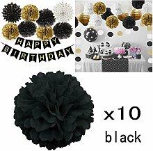 JZK 10 x Pompoms Pompons, 25cm Durchmesser, Seidenpapier blume Dekoration für Wohnzimmer Hochzeit Geburtstag Babyparty Kinder Party Weihnachten Silvester, schwarz