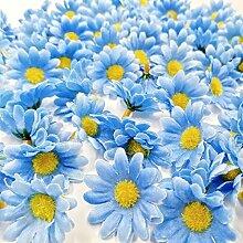 JZK® 100 x künstliche blau Handwerk Gerbera Daisy Gänseblümchen Stoff Blumen Köpfe, Hochzeit Party Tisch Scatters Konfetti, DIY Scrapbook Zubehör, Einladung Karte Dekoration (blau)