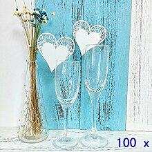 JZK® 100 x Weiß Herz ans Glas, Schimmer perle-weiss Platzkarten Tischkarten Namenskarten Glas Karte Glasanhänger Weinglas Cup Champagnerglas Tischdeko für Hochzeitsfeier Geburtstage Taufe Party Festival (100x Herz)