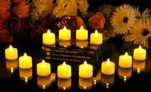 JZK® 12 x LED Teelichter flammenlose Kerze mit Batterie, Dekoration für Hochzeit Geburtstag Taufe Kinder Party Babyparty Festival Weihnachten Halloween Neues Jahr, Gelbes Lich