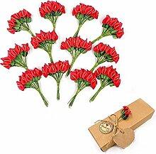 JZK® 144 x Rot kleine Calla künstliche Blumen mini Schaum Kunstblumen für Handwerk Favour Box Geschenkbox Karte Zubehör, Dekoration für Hochzeit Geburtstag Party Festival (Rot Calla)