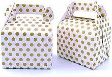 JZK 25 x Gold Polka Punkt Gastgeschenk Box 11,5 x
