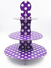 JZK® 3 Tier Lila Polka Dot Cupcake Ständer Abnehmbarer Kuchen Stehen Muffin Halter Dessert Tower, Dekoration Zubehör für Taufe Geburtstag Hochzeit Party ( Lila )