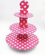 JZK® 3 Tier Rosa Polka Dot Cupcake Ständer Abnehmbarer Kuchen Stehen Muffin Halter Dessert Tower, Dekoration Zubehör für Taufe Geburtstag Hochzeit Party