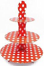 JZK® 3 Tier Rot Polka Dot Cupcake Ständer Abnehmbarer Kuchen Stehen Muffin Halter Dessert Tower, Dekoration Zubehör für Taufe Geburtstag Hochzeit Party ( Rot )