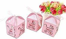 JZK 48 x Rosa Pearly Papier Süßigkeiten