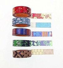 JZK® 5 x Washi Tape Set Masking Klebeband, Dekoration Zubehör für DIY Kunst Handwerk Tagebuch Scrapbooks Geschenk Party, Breite 15mm Länge 10m