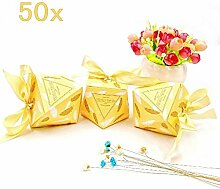 JZK 50 Diamant form Süßigkeiten Schachtel mit bändern, papier Bonbons Geschenkbox für Hochzeit Geburtstag Weihnachten Taufe Babyparty Kinder party, gelb