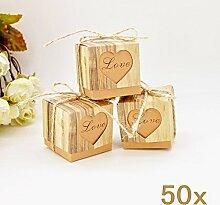 JZK 50 x Love Herz rustikale Stil Schachtel Geschenkbox Gastgeschenk Kartonage klein Süßigkeiten Kartons Bonboniere Kasten, Favours Box für Geburtstag Party Taufe Babypartys Baby Shower