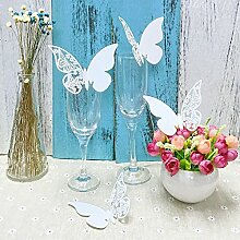 JZK® 50 x Weiß Schimmer Schmetterling ans Glas Platzkarten Tischkarten Namenskarten Tischdeko Karte für Hochzeit Geburtstage Taufe Party Babyparty Baby Shower Festival (50x Schmetterling)