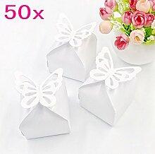 JZK® 50 x Weiß Schmetterling quadratisch Bonbons Geschenkbox Süßigkeiten Schachtel, Dekoration für Hochzeit Geburtstag Party Taufe Babyparty Baby Shower Gartenparty Festival