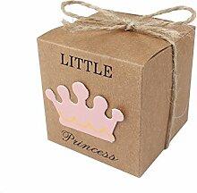 JZK 50x Little Princess Kraft Papier Geschenkbox