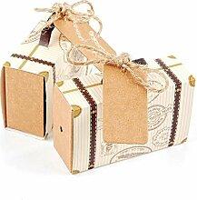 JZK 50x Mini-Kofferbox Süßigkeiten Schachtel