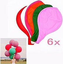 JZK 6 x Durchmesser 90cm, Riese Luftballon Latex riesige Ballon rund gross Dekoration für Hochzeit Geburtstag Taufe Babyparty Kinder Party Festival, rot pink rosa orange weiß grün