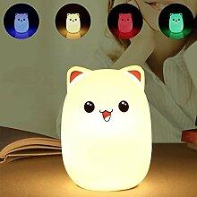 JZK Rosa Bär Silikon LED Nachtlicht, Warmweiß Light + einfarbiges Light + buntes Gefälle Light, USB wiederaufladbare Nachttischlampen Geschenk zum Kinder Baby