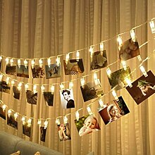 JZK Warmweiß LED Foto Lichterkette, 5m x 40 Clips, Bild Kunstwerke Notizen Photo Clips, Batteriebetriebene Stimmungsbeleuchtung Deko für Zimmer Hochzeit Geburtstag Party Weihnach