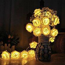 JZK Warmweiß Rose lichter Lichterkette 2m 20 LED Blume Licht String Lights, Dekoration für Innenbereich Hochzeit Geburtstag Party Valentinstag Weihnachten, Batterie betrieben