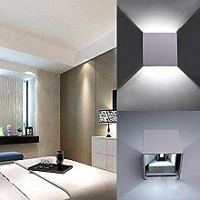 K-Bright 12W LED Wandleuchte innen,Wasserdicht IP 65,230V,kaltes Weiß,modern design,Up und Down einstellbar Abstrahlwinkel Design,100*100*100mm LED wand Wandleuchte,Aluminum Wandleuchten,Grau