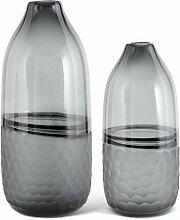 K&K Interiors 17391A Vasen aus Glas mit mattiertem