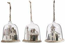 K&K Interiors 53472A Glaskuppel mit Häusern im