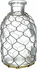 K & K Interiors Glas Flasche mit Netzen, 16,5x