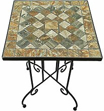 K&L Wall Art Gartentisch mit schönem Stein-Mosaik