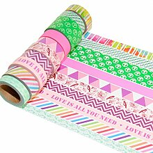 K-LIMIT 10er Set Washi Tape Dekoband Masking Tape Washitape Klebeband Scrapbooking DIY Geschenkidee 97797