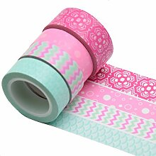 K-LIMIT 4er Set Washi Tape Dekoband Masking Tape Klebeband Scrapbooking DIY Geschenkidee 9866