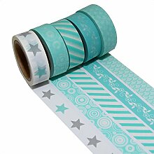 K-LIMIT 5er Set Washi Tape Dekoband Masking Tape Klebeband Scrapbooking Mint Geschenkidee 9325