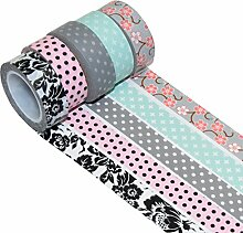 K-LIMIT 5er Set Washi Tape Dekoband Masking Tape Klebeband Scrapbooking Geschenkidee 9787