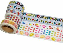 K-LIMIT 5er Set Washi Tape Dekoband Masking Tape Klebeband Washitape Scrapbooking DIY 5563 Geburtstag Happy Birthday Geschenkidee