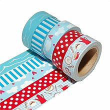 K-LIMIT 5er Set Washi Tape Dekoband Masking Tape Scrapbooking Geschenkidee Weihnachten Christmas 9299