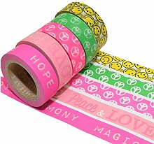 K-LIMIT 5er Set Washi Tape Dekoband Masking Tape Scrapbooking Geschenkidee Love Peace 9321