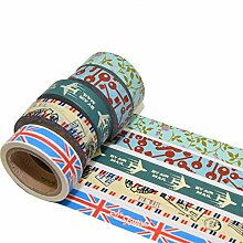 K-LIMIT 5er Set Washi Tape Dekoband Masking Tape so British Airmail Geschenkidee 9827