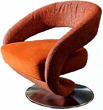 K+W Möbel Einzelsessel Wave Sessel 7398 Designersessel für Wohnzimmer Bezug in Sitz und Rücken wählbar
