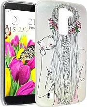 K10 Hülle, Asnlove Ultra Dünn TPU Handy Schutzhülle für LG K10 2016 Release Silikon Transparent Weich Handytasche Tasche Schutz Back Cover im Mädchen Porträt Muster