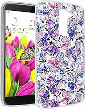K10 Hülle, Asnlove Ultra Dünn TPU Handy Schutzhülle für LG K10 2016 Release Silikon Transparent Weich Handytasche Tasche Schutz Back Cover im Lila Blume Muster