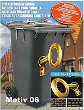 K7plus® Mülltonnenaufkleber Mülleimer Aufkleber Mülltonne Sticker – Schmuck Folie für Fenster Wand und Türen (Motiv 06 - 3D Schlüssel)