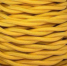 Kabel Textil geflochten gelb matt Dekoration