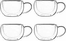 KADAX doppelwandige Glas Tasse, 280 ml,