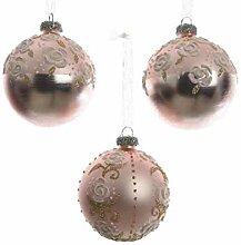 KAE 3 Weihnachtskugeln Glas 8cm mit Rosen Motive