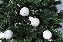 Kaemingk 18x Glitzer Weihnachtskugeln 6cm Weiß