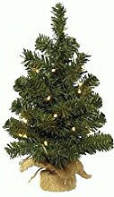 Kaemingk 678831 Mini-Baum im Jutesack, Soft Nadel PVC, innen, batteriebetrieben, 20 warmweiße LED, Höhe 45 cm