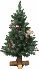 Kaemingk 683507 Frosted Sherwood Mini Baum mit Holzfuß, Soft Nadel PVC, innen, Höhe 75 cm