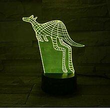 Känguru 3D Acryl Nachtlicht USB Schlaf Leuchte